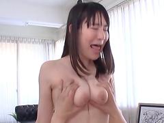 Brunette chick Masaka Matsuoka wants to play with his dick