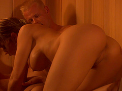Lucky guy gets to fuck kinky Stephanie Tripp in a sauna
