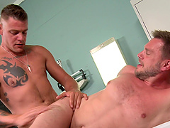 Tattooed gay guy finally gets to screw a horny friend while he moans