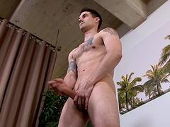 Solo gay dude finally gets to jerk his hard cock on the couch