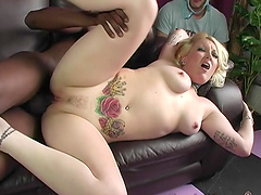 Nasty babe Candy Monroe fucks with a black guy in front of her husband