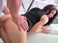 Brunette cutie Milana fucks with a neighbor in various poses