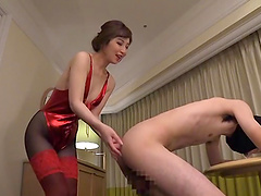 Beautiful Sasaki Aki likes to jerk a dick with her small feet