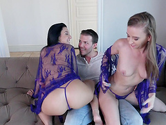 Lucky guy gets to fuck Selena Stone and Norah Nova in a threesome