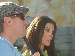 Outdoor action with brunette Alicia Alighatti worshiping that cock