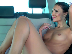 Brunette Nicci gets brutally penetrated at an interview in a car