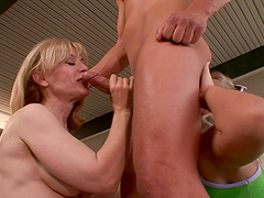 One long cock can satisfy both Nina Hartley and another babe