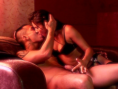 Lucky guy gets to fuck a brunette sweetie while she moans