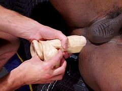 Race Cooper's asshole is destroyed by Byron Saint who loves using toys