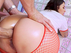Nurse Ivy Lebelle takes a dick in her ass and sucks him dry
