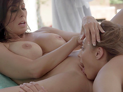 Lesbian one on one by the pool with Reagan Foxx and Gia Derza