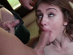 Teen wife Rosalyn Sphinx tries to handle multiple dicks