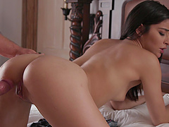 He shows brunette Emily Willis what its like to get brutally pounded