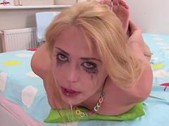 Blondie Anabela's face gets brutally fucked and covered in jizz