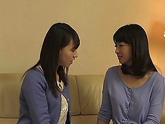 Japanese brunette babe sucks and fucks a cock with her friend watching
