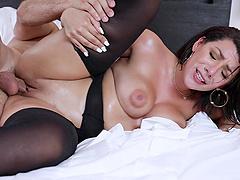 Naughty oiled up Latina babe Valentina Jewels pussy fucked hardcore