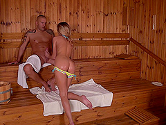 Tattooed babe Tequila Girl sucks and fucks at a sauna