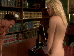 Blonde tee nympho Samantha Sin gets fucked missionary at the office