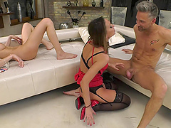 Hazel Dew and Delia swap cum after a hardcore threesome