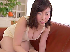 Japanese babe in a swim suit Otomi Rina gives a sloppy blowjob