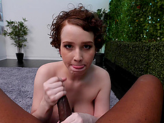 Anna gets a big black cock and its cum on the casting couch