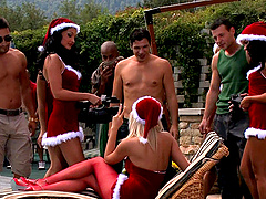 Brunette Helena Sweet swallows cum at a pool orgy with her friends
