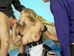 Tanya Tate gets two cum shots after a missionary double penetration
