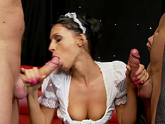 Tammie Lee swallows cum and gets fucked in a maid uniform