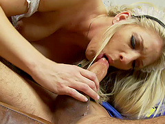 Blonde maid Jordan Kingsley rides and sucks a big hard cock