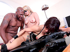 MILF babes in leather Savana Styles and Alix Lovell share a big cock