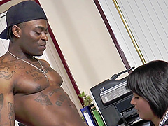 Interracial hardcore cock riding in the office with Scarlett Hope