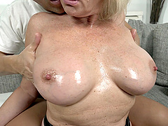 Mature busty blonde granny Rosemary gets her pussy pounded hard