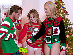 Christmas threesome with a cum shot for Britney Light and Mazzy Grace