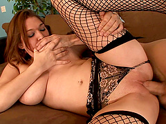 Latina in fishnets Cassandra Calogera gets her tits sprayed with cum