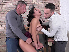 Liv Revamped gets covered in cum by two well hung guys