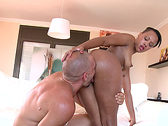 Gorgeous ebony babe Noemilk rides her big ass on a hard cock