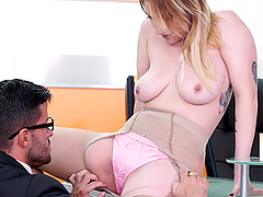 Blonde secretary Lucia Fernandez sucks and fucks her boss and eats cum
