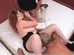 Chubby mature blonde BBW gets her huge tits cum covered