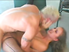 Blonde MILF in fishnets Luissa Rosso ass fucked and cum sprayed