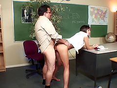 Naughty brunette Nadia Aria sucks and rides a cock in a uniform
