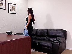 Brunette babe Celine ass fucked and cum sprayed on the casting couch