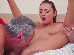 Brunette babe Katy Rose doggy style fucked by an older guy