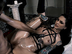 Nasty messy oiled up kinky sex session with tattooed Rocky Emerson