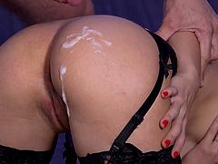 Naughty secretary Carolina Abril deepthroats and gets cum on her ass