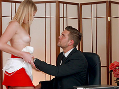 Blonde babe Aria Logan likes it rough doggy style and to swallow cum