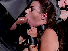 Sophia Laure tied up while anally sodomized and force fed cum