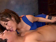 Japanese babe in stockings Kimijima Mio pussy licked before riding