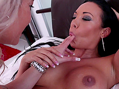 Lesbian MILF pornstars Alana Luv and Rio Lee have fun with toys