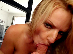 Pornstar slut Rachael Cavalli sucks a big dick close up in POV