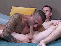 Inked white gay dude strokes his dick while getting ass fucked